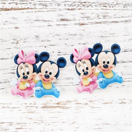 5 x 47mm BABY MINNIE + MICKEY MOUSE LASER CUT FLAT BACK RESIN HEADBANDS BOWS
